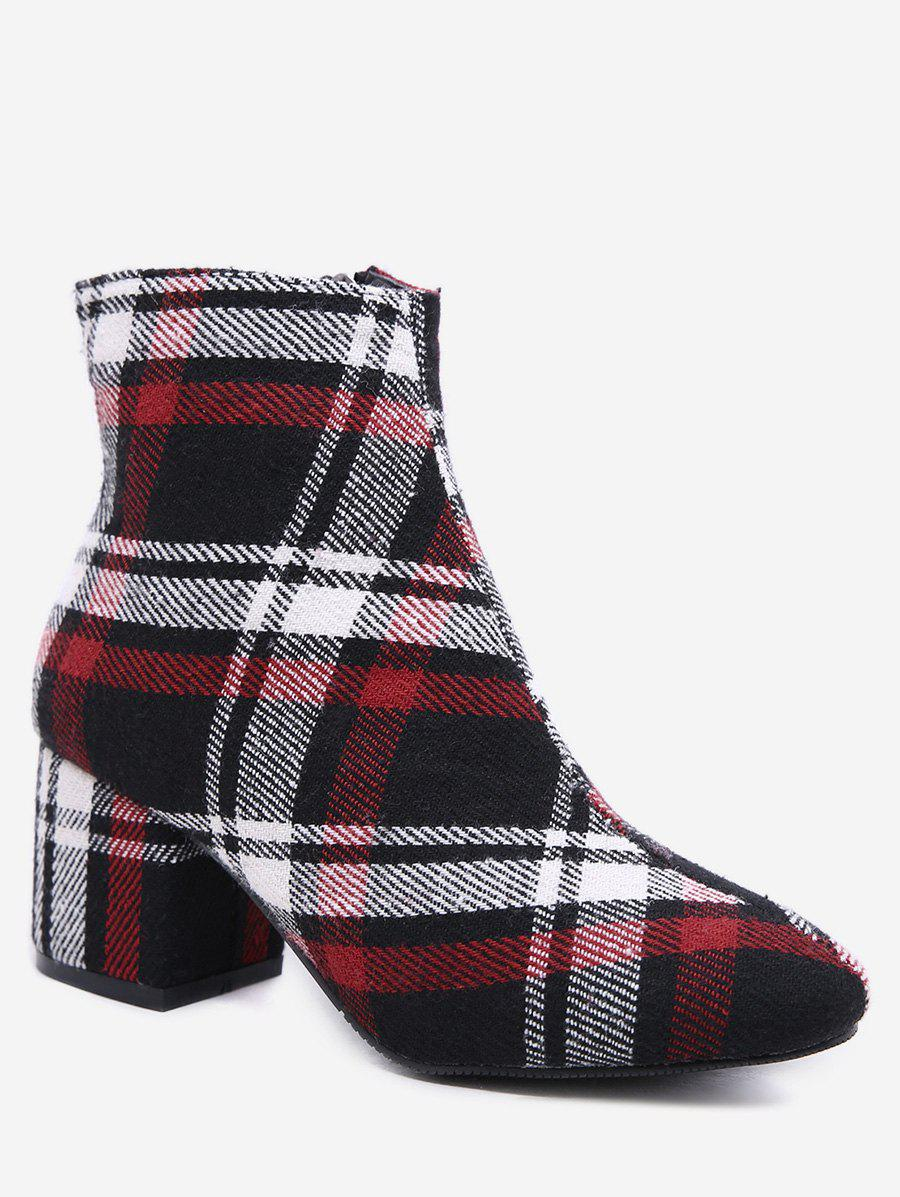 Discount Plaid Block Heel Short Boots