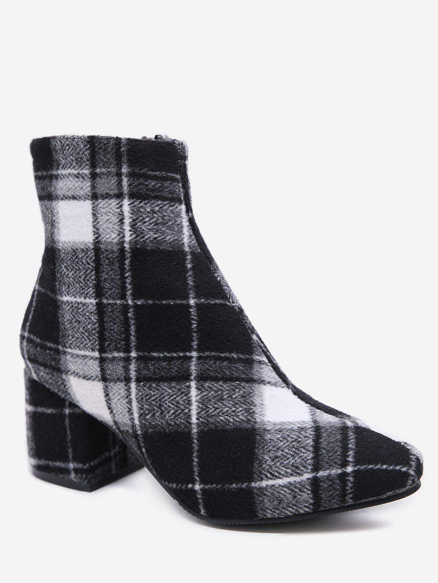 Sale Plaid Block Heel Short Boots