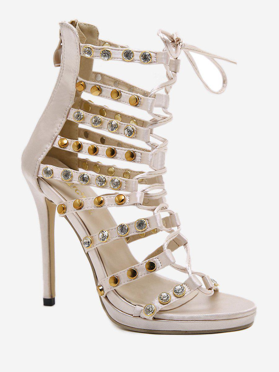 Hot High Heel Studded Crystals Sandals