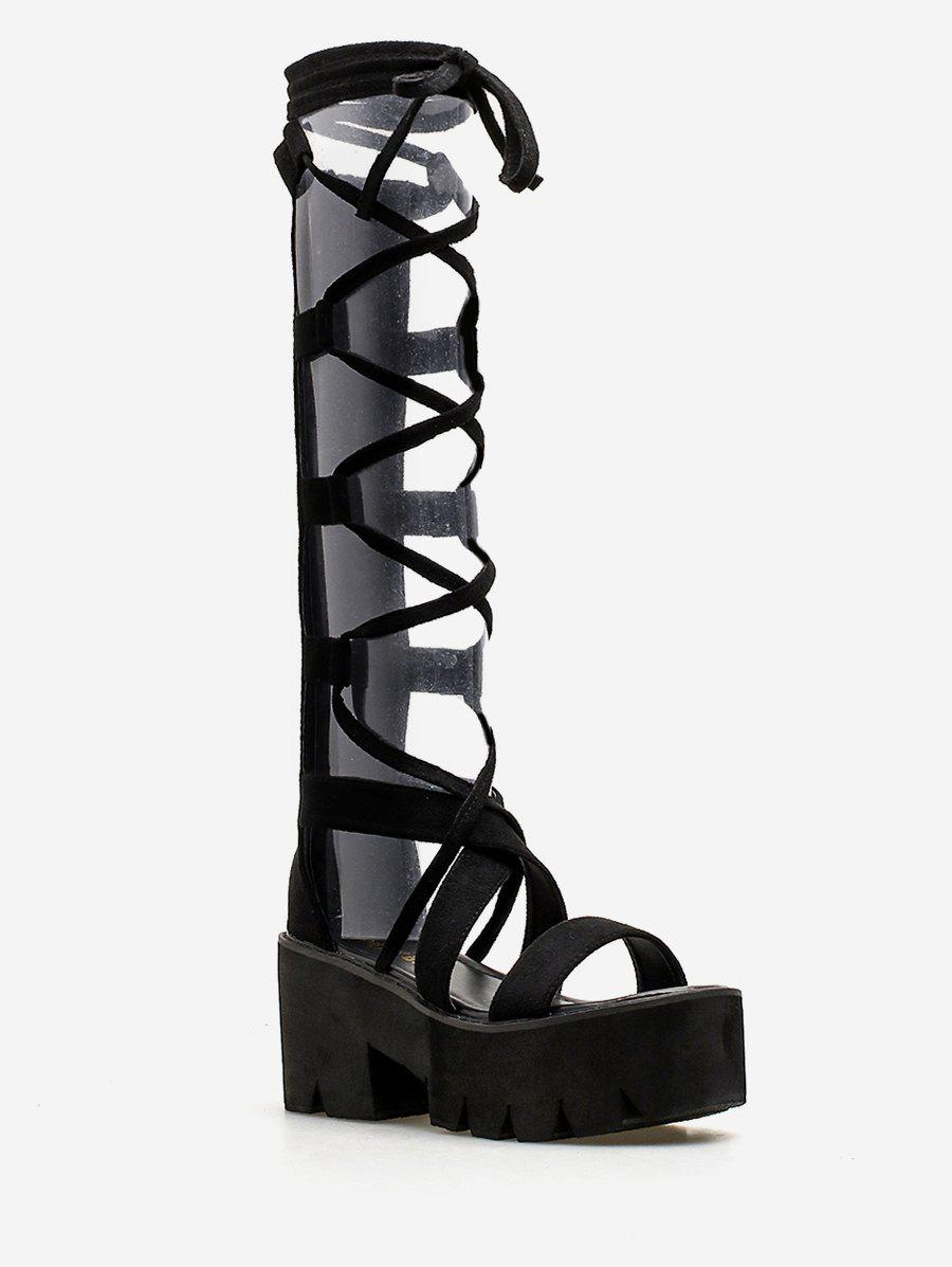 Trendy Lace Up Platform Retro Sandals