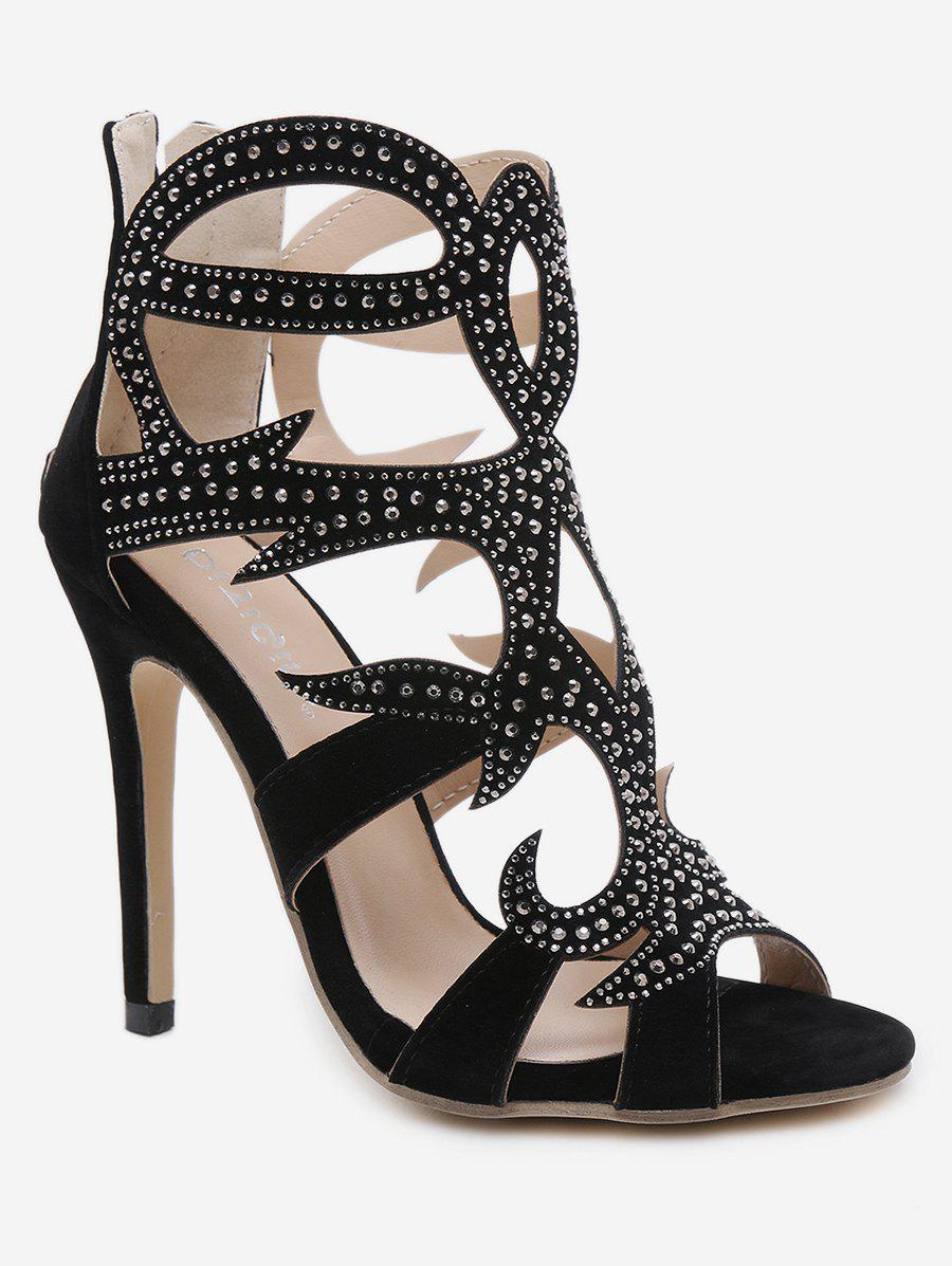 Trendy Rhinestone Stiletto Heel Sandals