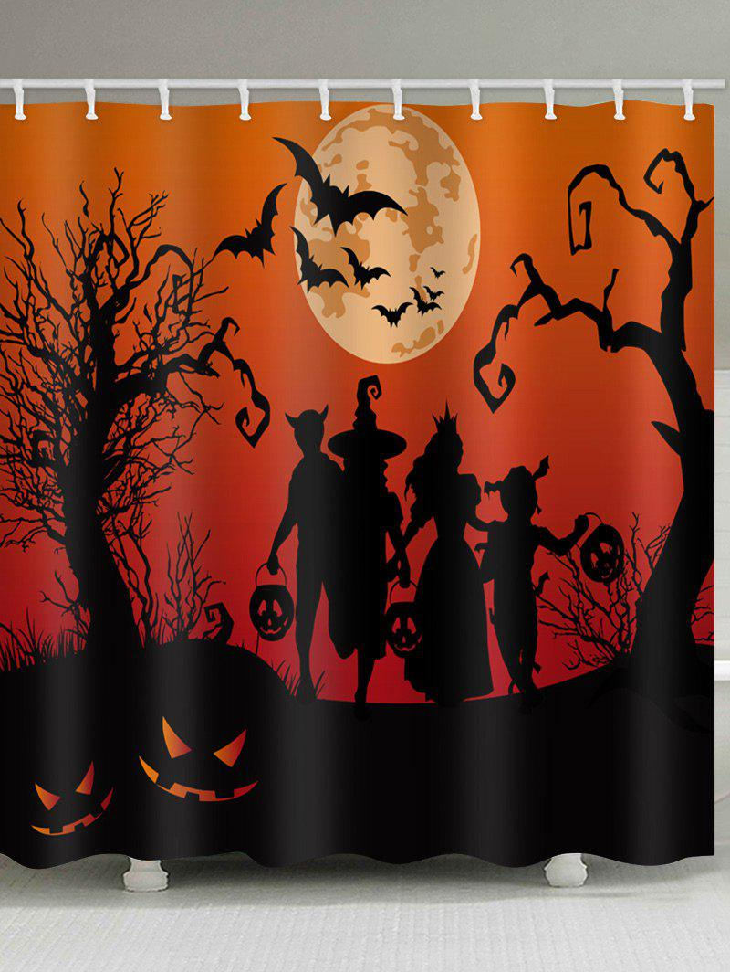 Cheap Halloween Moon Family Print Waterproof Bathroom Shower Curtain