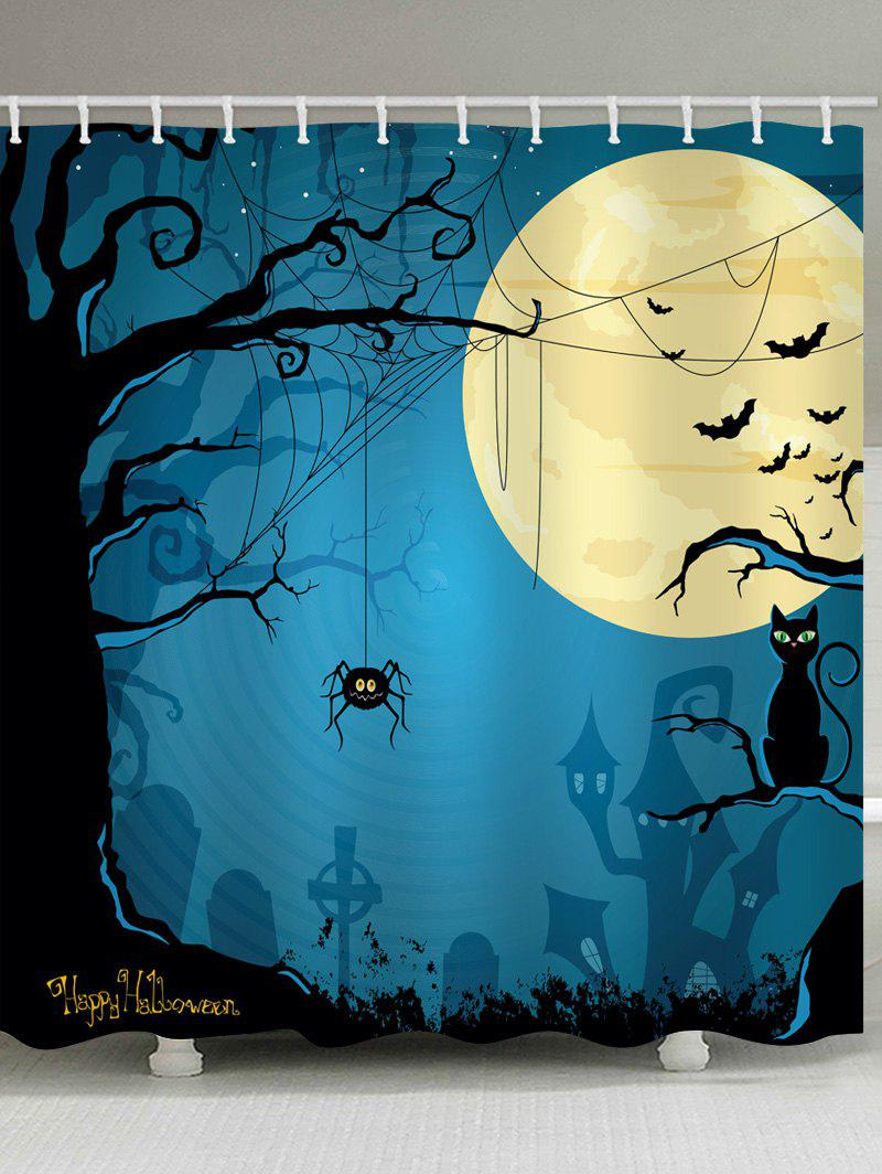 Cheap Halloween Moon Tree Print Waterproof Bathroom Shower Curtain