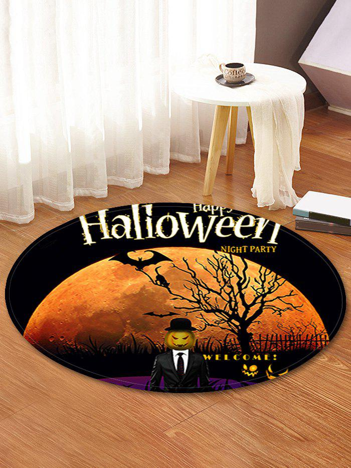 Trendy Halloween Moon Tree Pattern Anti-skid Round Floor Rug