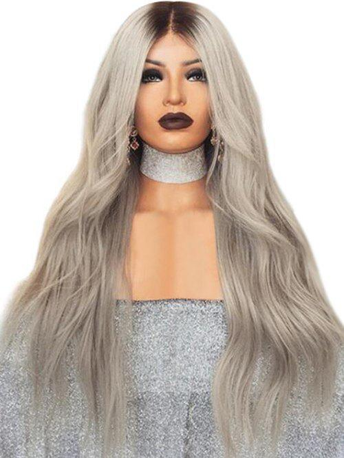 Online Long Middle Part Ombre Wavy Synthetic Wig