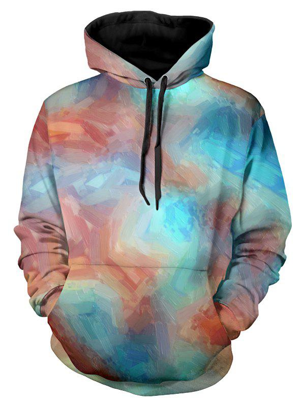 Cheap Casual Colorful Paint Drawstring Hoodie