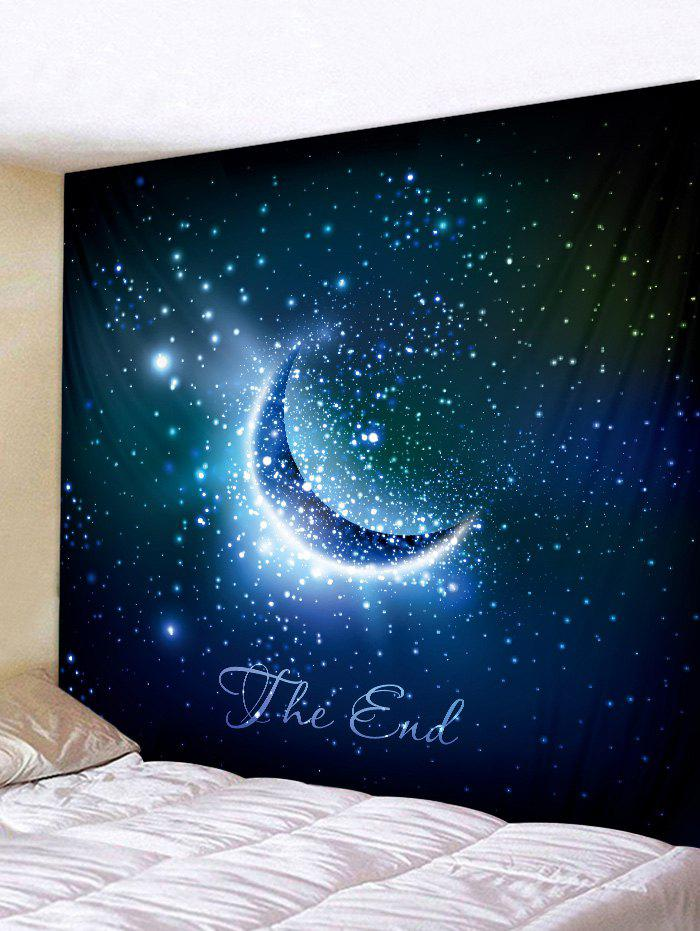 Discount Wall Hanging Art Crescent Starry Sky Print Tapestry