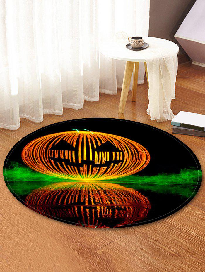 Trendy Halloween Pumpkin Lamp Pattern Anti-skid Round Floor Rug