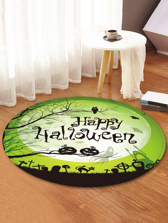 Tapis de Sol Rond Antidérapant Motif Inscription Happy Halloween