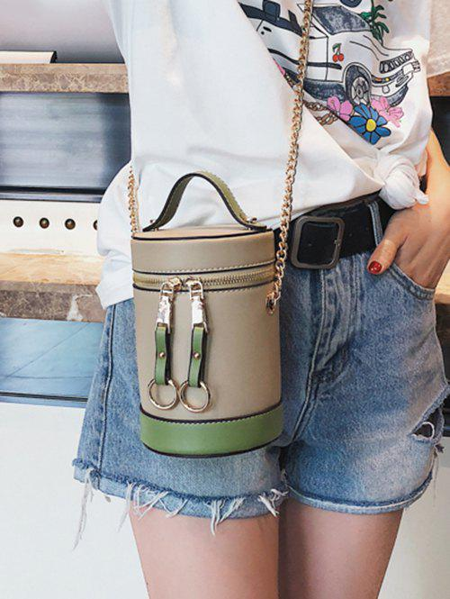 Hot Color Block Chic Round Tote Bag with Chain
