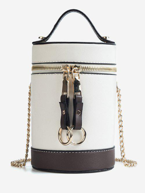 Shop Color Block Chic Round Tote Bag with Chain