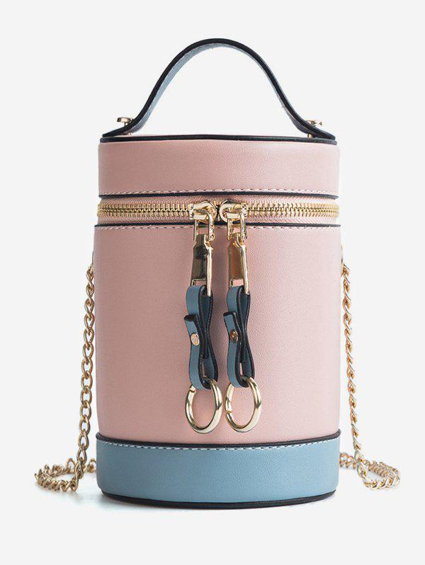 Trendy Color Block Chic Round Tote Bag with Chain