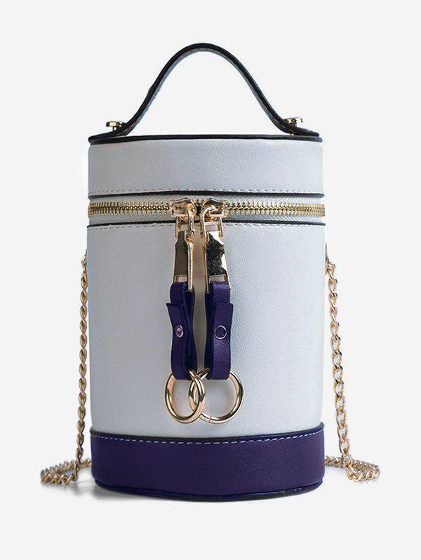 New Color Block Chic Round Tote Bag with Chain