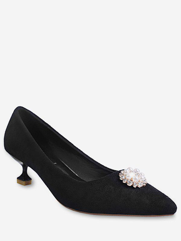 Latest Pointed Toe Faux Pearl Suede Pumps