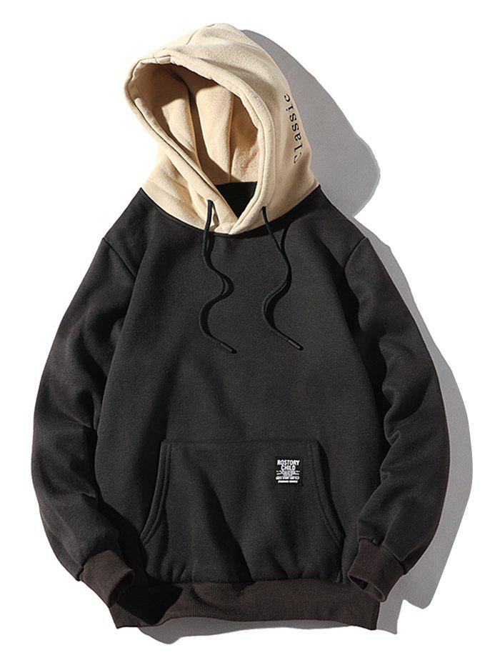 Store Contrast Letter Patch Detail Kangaroo Pocket Fleece Hoodie