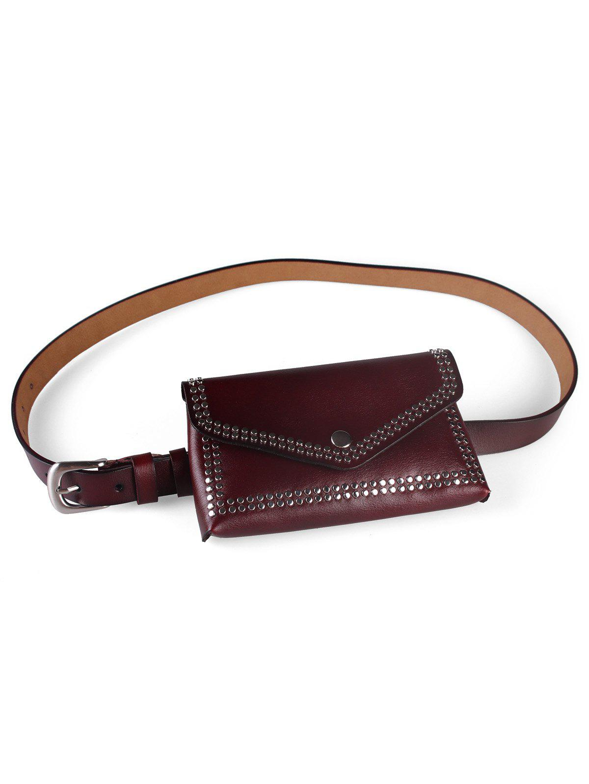 Discount Rivets Funny Bag Faux Leather Phone Card Belt Bag