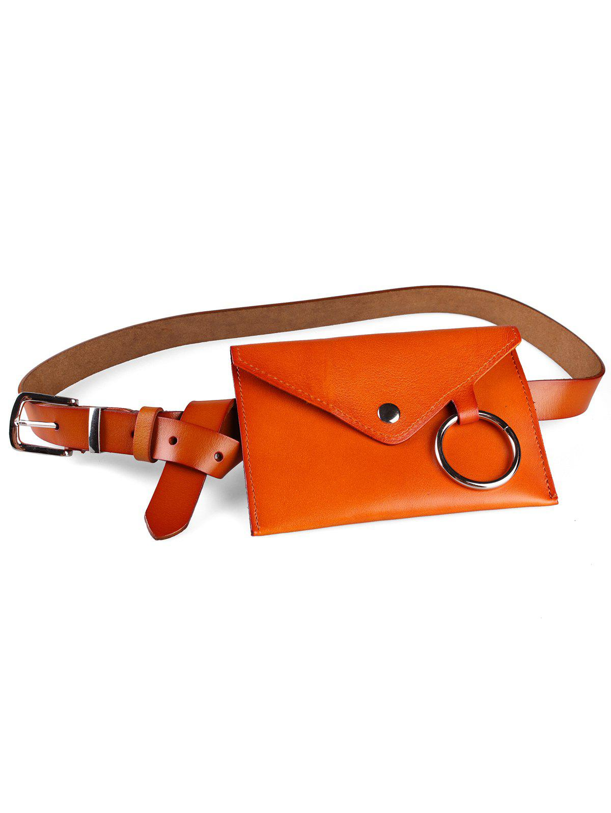 Store Metal Ring Fanny Pack Faux Leather Belt Bag