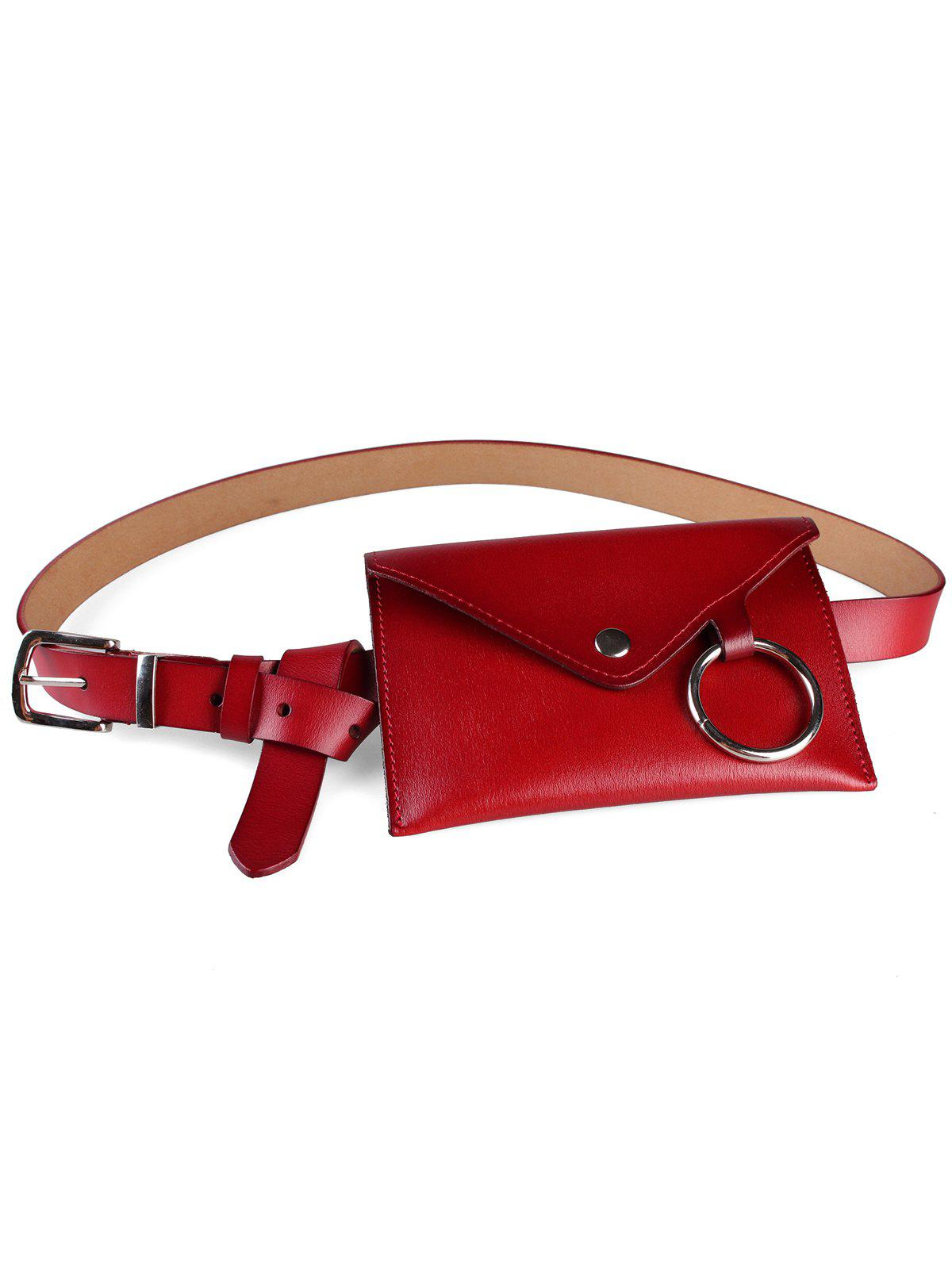 Outfits Metal Ring Fanny Pack Faux Leather Belt Bag