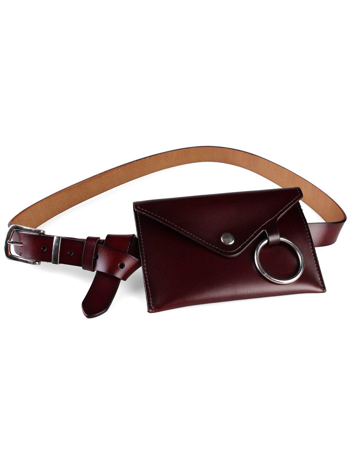 Trendy Metal Ring Fanny Pack Faux Leather Belt Bag