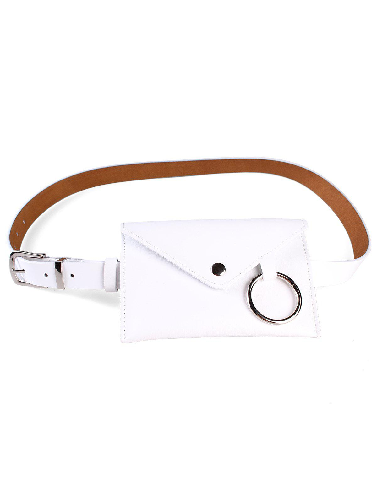 New Metal Ring Fanny Pack Faux Leather Belt Bag