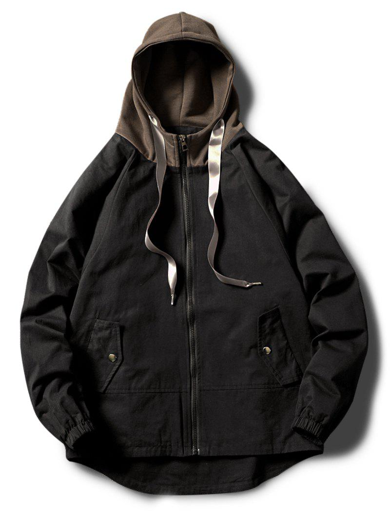 Unique Contrast Zip Up Side Pockets Hem Curved Hooded Jacket