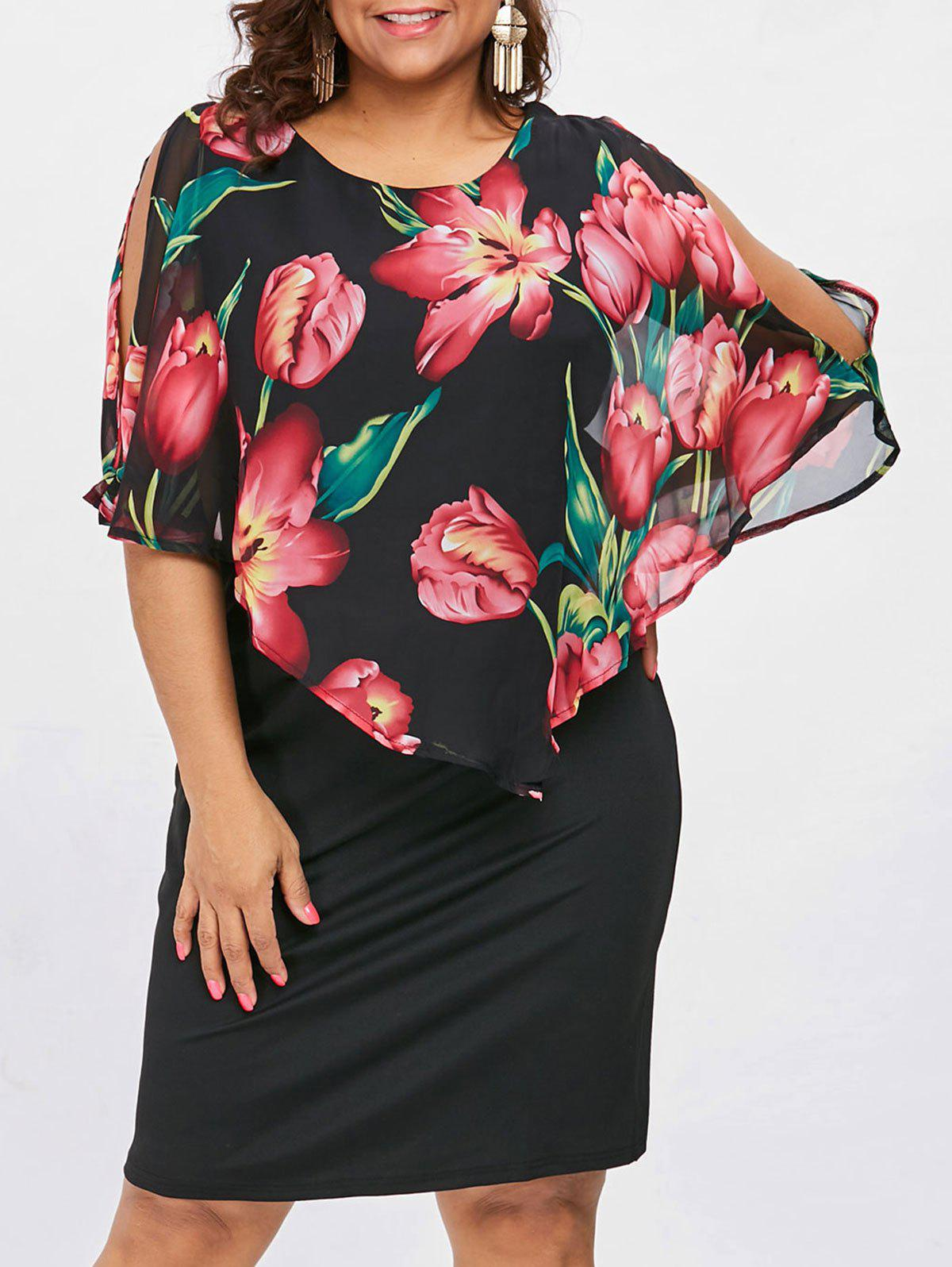 Chic Flower Print Plus Size Capelet Dress