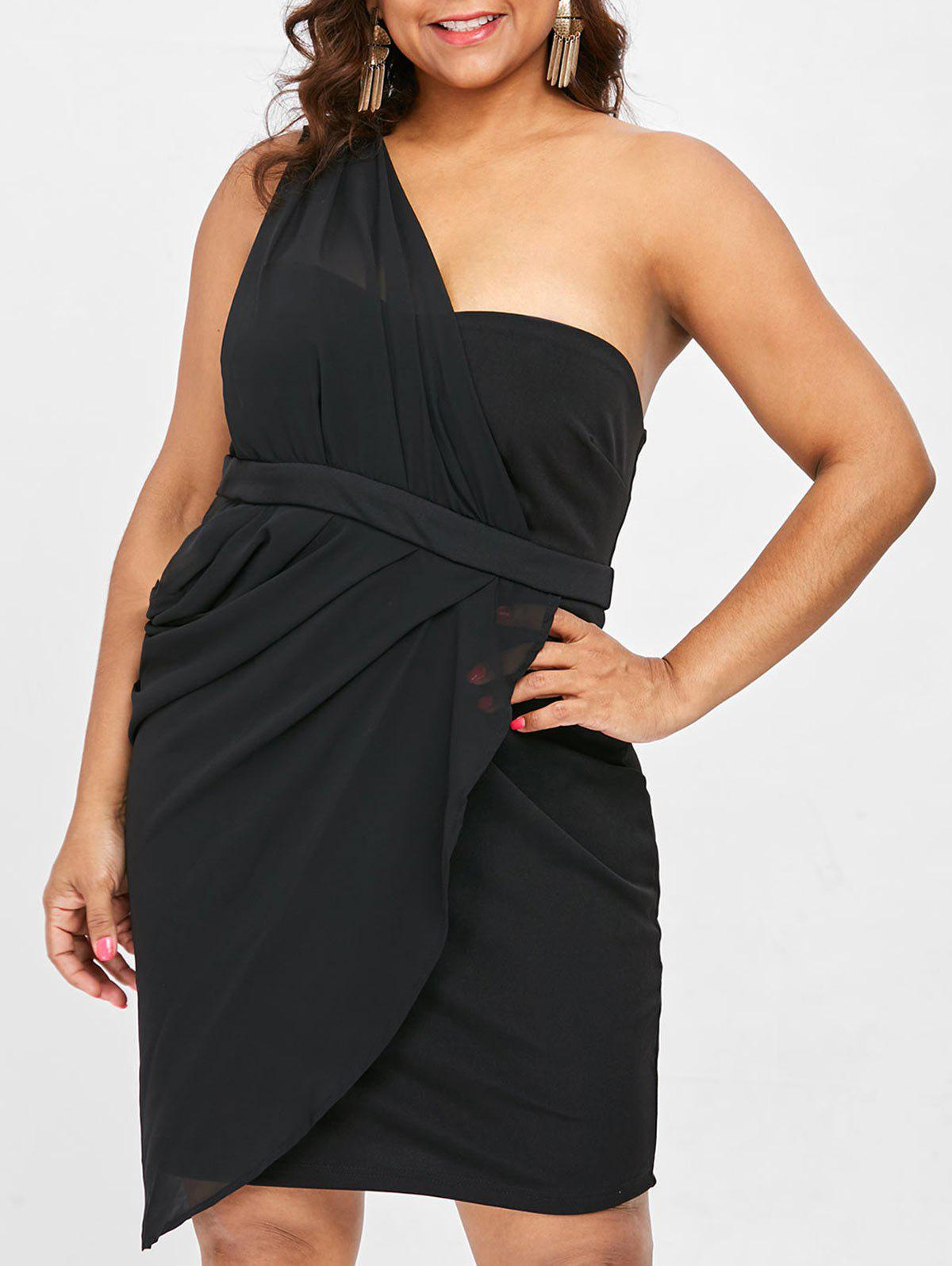 Fashion One Shoulder Plus Size Draped Party Dress