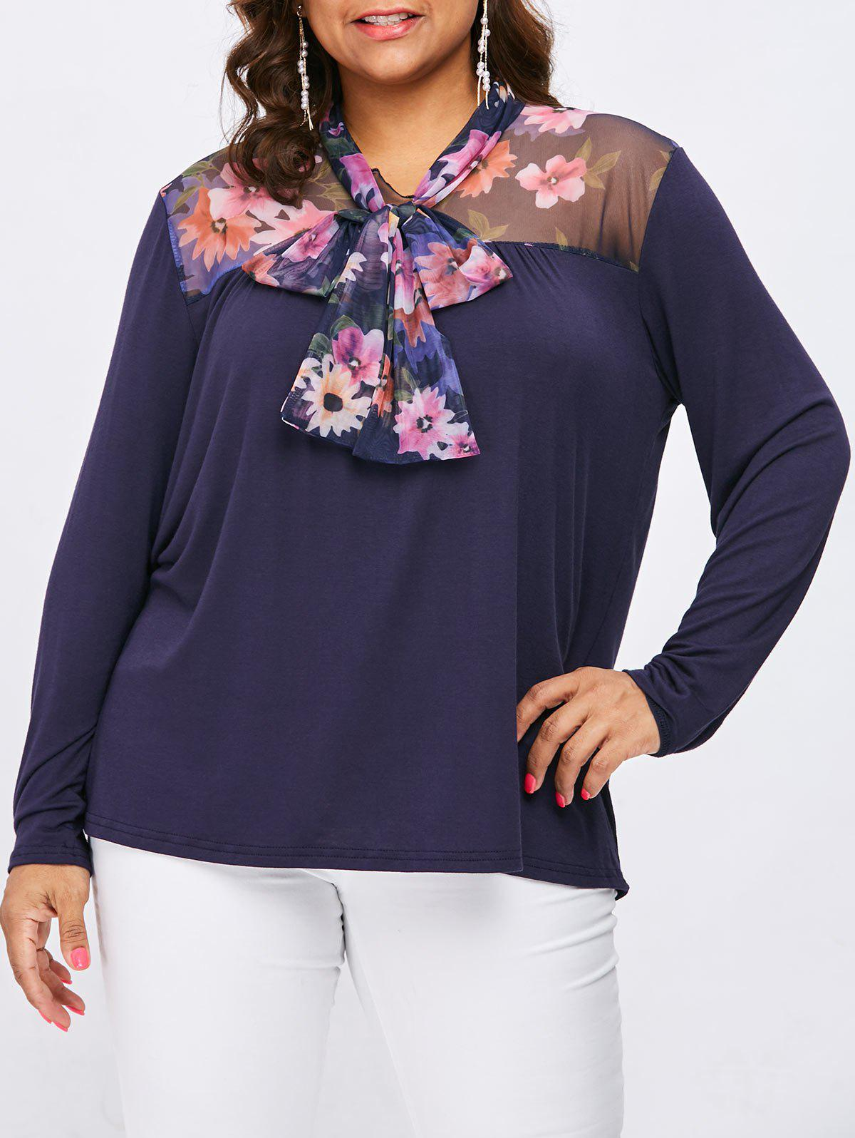 Store Plus Size Mesh Self Tie Neck Blouse