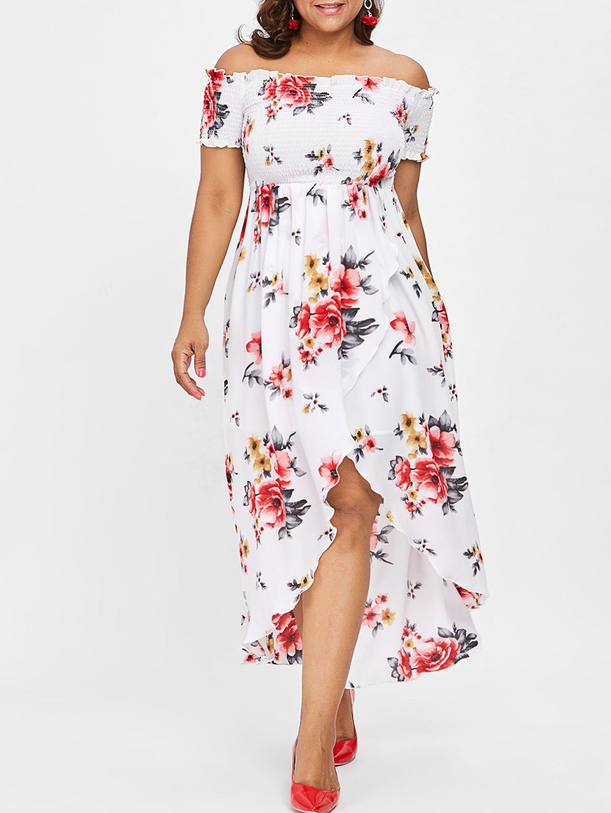 Affordable Plus Size Print Shirred Off Shoulder Dress