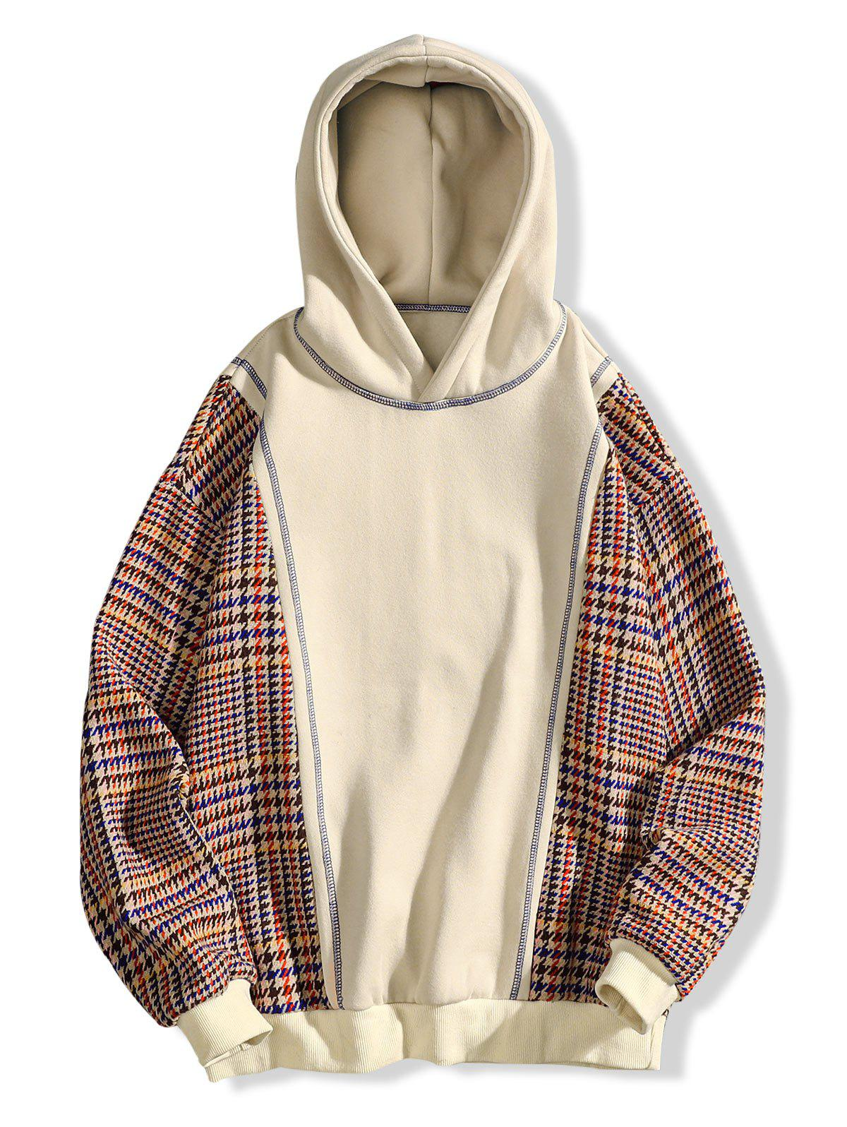 Buy Seam Detail Plaid Patchwork Fleece Hoodie