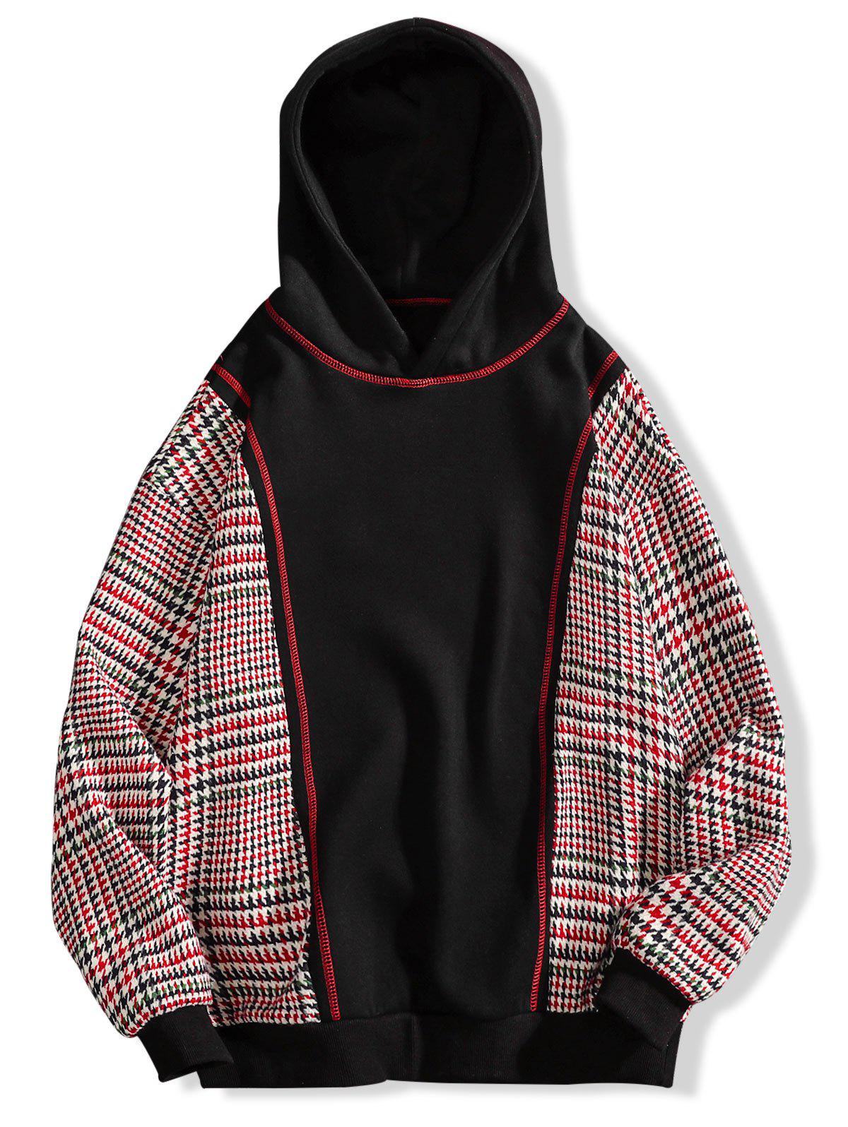 Outfit Seam Detail Plaid Patchwork Fleece Hoodie