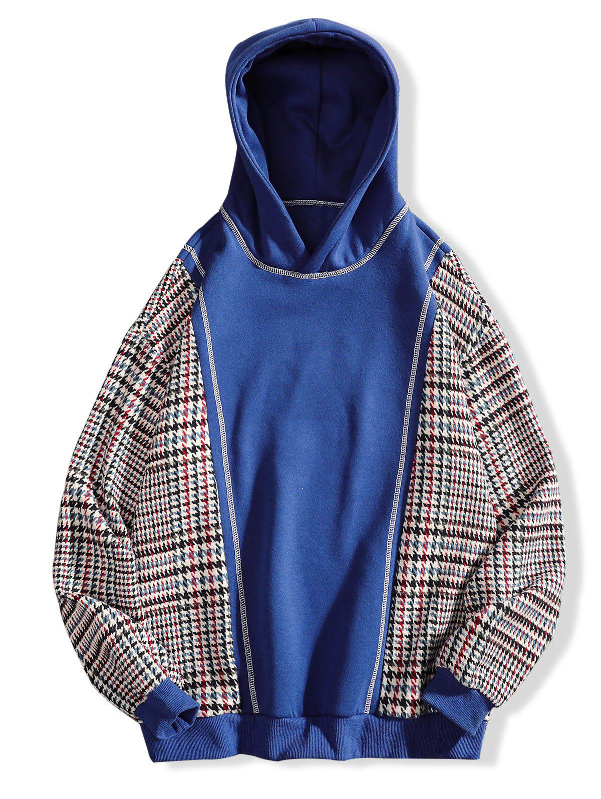 Fashion Seam Detail Plaid Patchwork Fleece Hoodie
