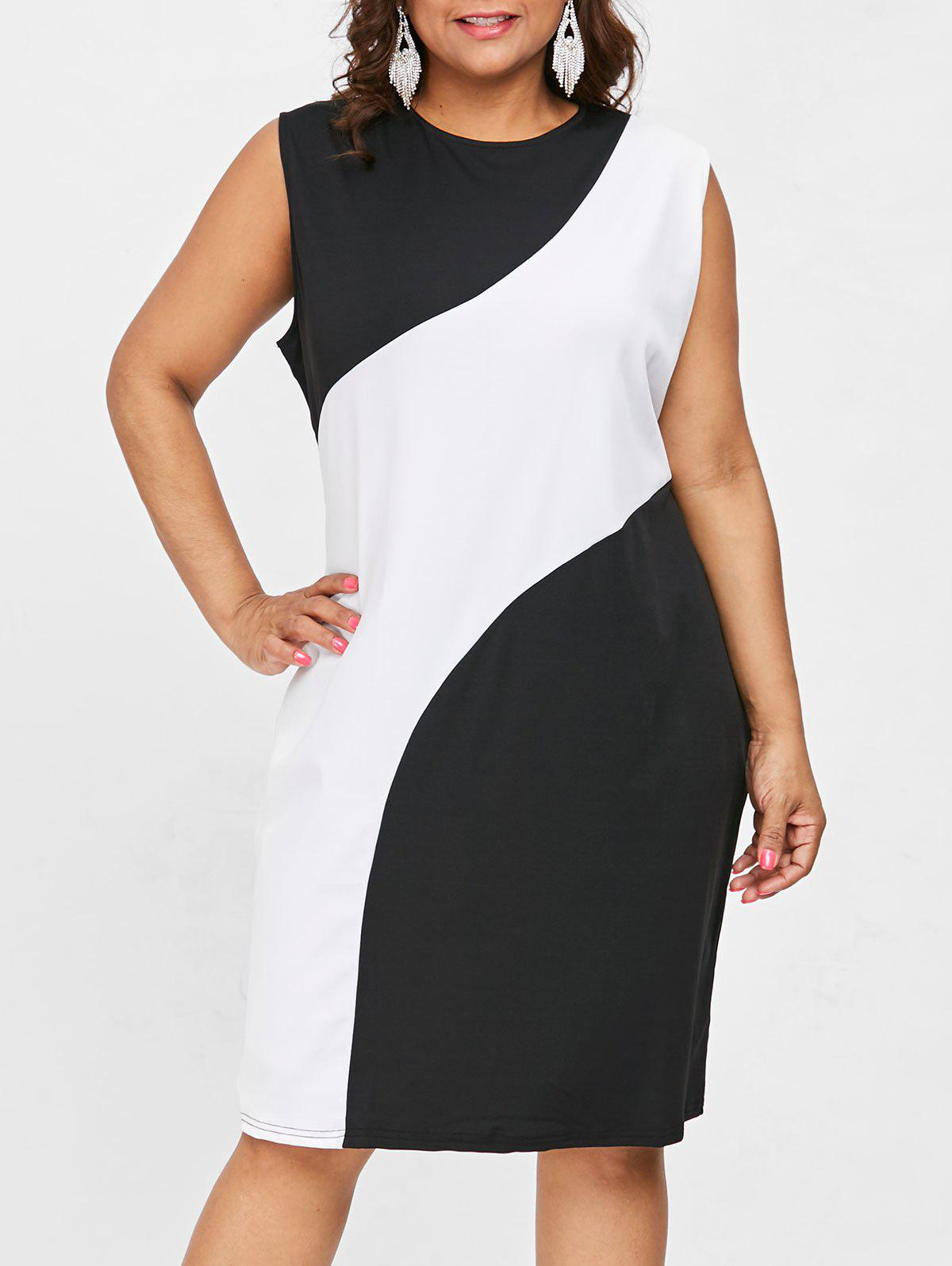 Hot Plus Size Sleeveless Color Block Dress