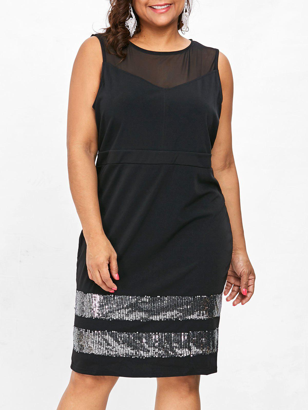 Fancy Plus Size Sleeveless Pencil Dress