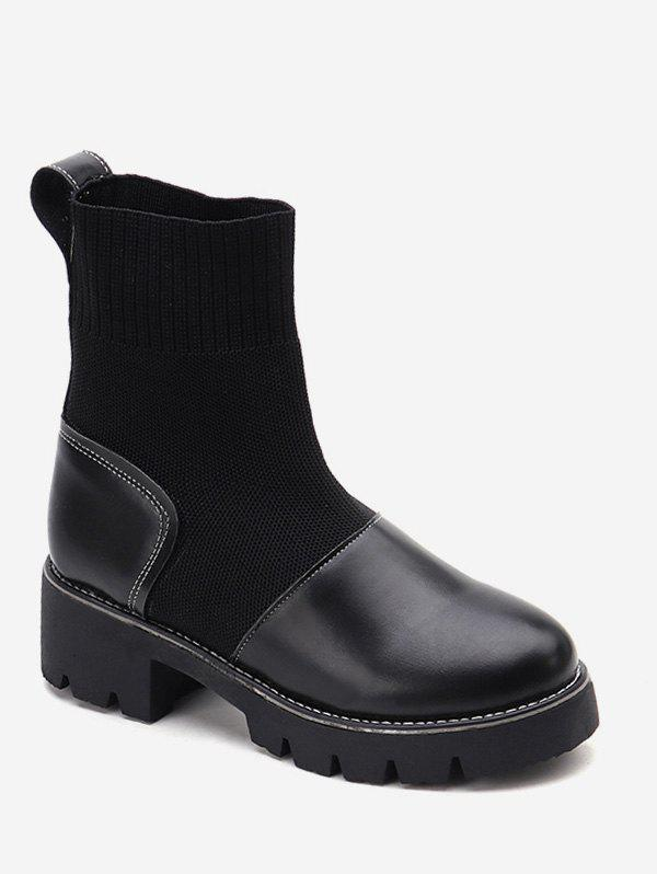Unique Chunky Heel Round Toe Ankle Boots