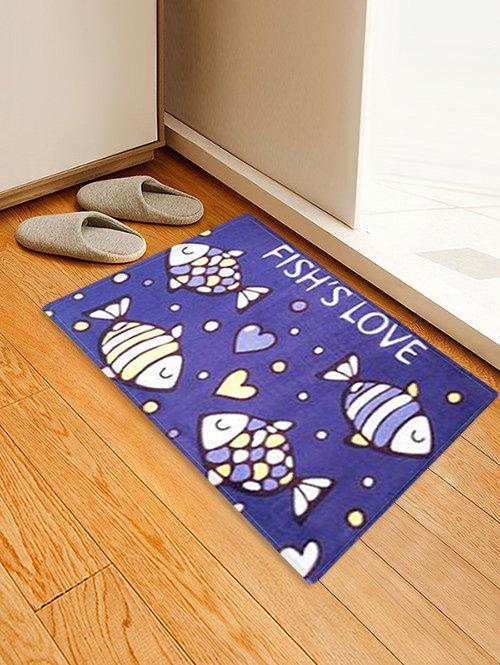 Hot FISH LOVE Pattern Water Absorption Area Rug