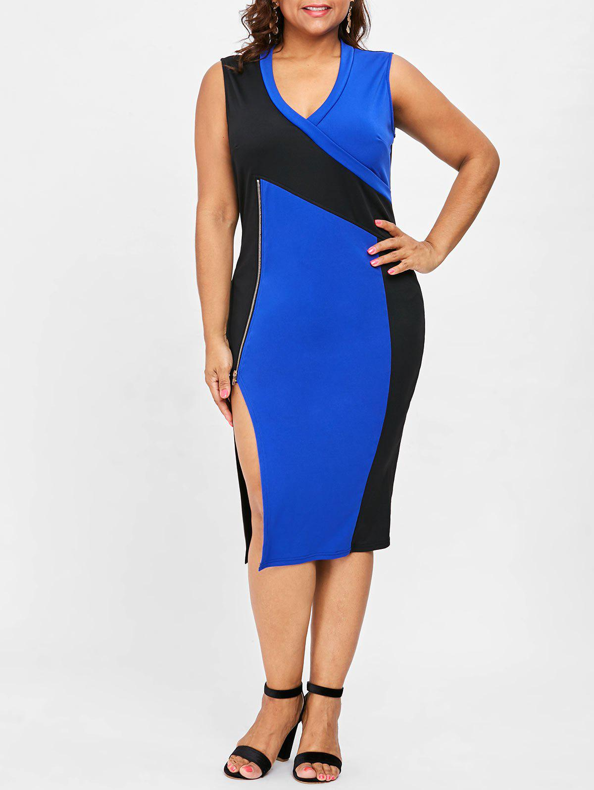 Cheap Plus Size Sleeveless V Neck Side Split Dress