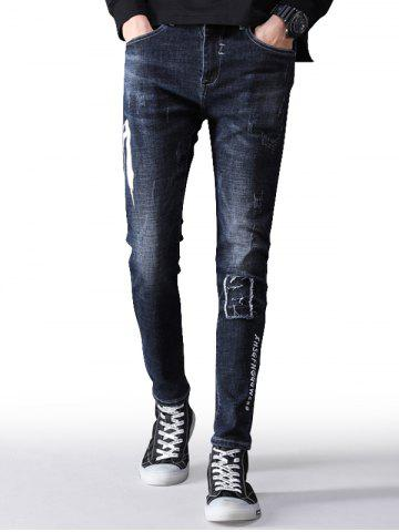 Zip Fly Letter Print Taper Fit Jeans