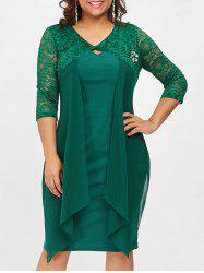 Lace Trim Drape Front Plus Size Dress -