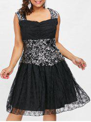 Plus Size Lace Sequin Insert Dress -