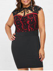 Plus Size Sweetheart Neck Lace Panel Bodycon Dress -