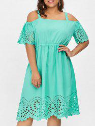 Square Neck Plus Size Cutwork Knee Length Dress -
