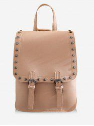 Leisure PU Leather Studs Buckled Backpack -