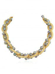 Artificial Crystal Beads Chain Twist Necklace -
