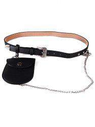 Elegant Carving Floral Buckle Faux Leather Belt  Bag -