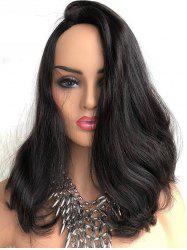 Inclined Bang Slightly Curly Long Lace Front Synthetic Wig -