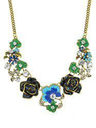 Floral Design Rhinestone Chain Necklace -