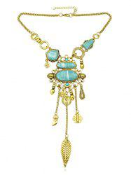Artificial Gem Wish Lock Leaf Pendant Boho Necklace -