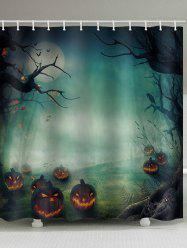 Halloween Pumpkin Night Waterproof Bathroom Curtain -