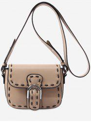 PU Leather Flap Whipstitch Retro Crossbody Bag -